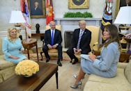 On 5 March, Israel's prime minister Benjamin Netanyahu paid a visit to the White House and for the occasion, Melania donned a sky blue coat by Max Mara. [Photo: Getty]