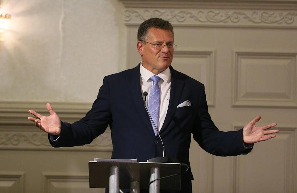 European Commission Vice President Maros Sefcovic during a press conference (Brian Lawless/PA) (PA Wire)