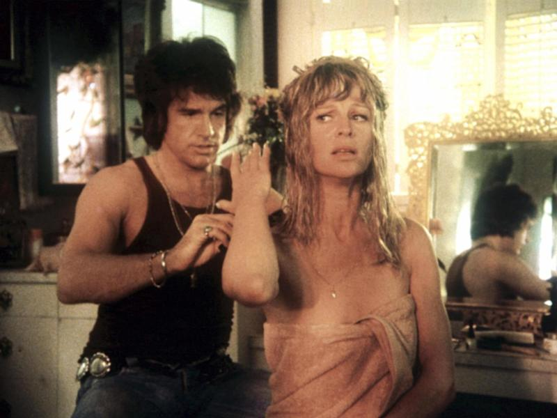 Beatty and Julie Christie star in 1975's 'Shampoo' – the satirical film was set over a 24-hour period about a hairdresser dissatisfied with his life (Rex)