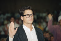 Movie star Rob Lowe is photographed at a public hearing October 22, 1987 by the Los Angeles County Board of Supervisors on the constructiion of sewers in Malibu,California. (AP Photo/ Nick Ut)