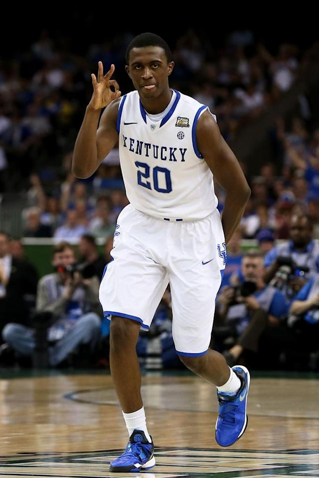 Doron Lamb #20 of the Kentucky Wildcats reacts after making a three-pointer in the first half against the Kansas Jayhawks in the National Championship Game of the 2012 NCAA Division I Men's Basketball Tournament at the Mercedes-Benz Superdome on April 2, 2012 in New Orleans, Louisiana. (Photo by Jeff Gross/Getty Images)