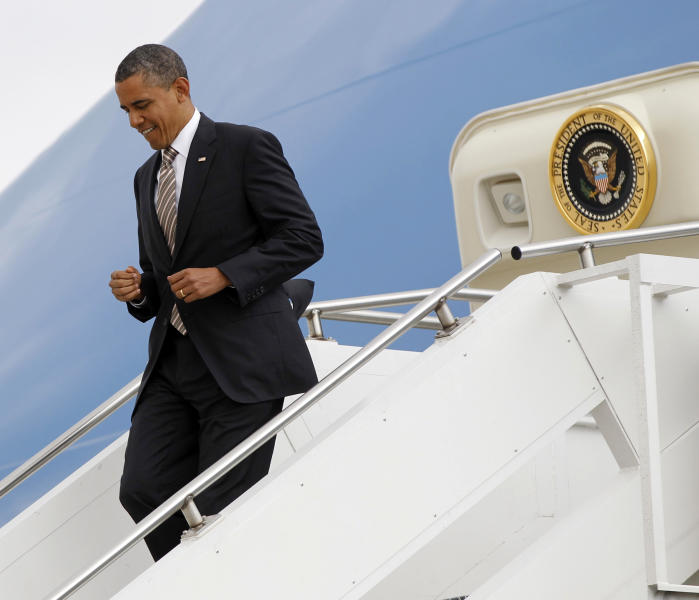 President Barack Obama arrives at Des Moines International Airport, Thursday, May 24, 2012. (AP Photo/Pablo Martinez Monsivais)