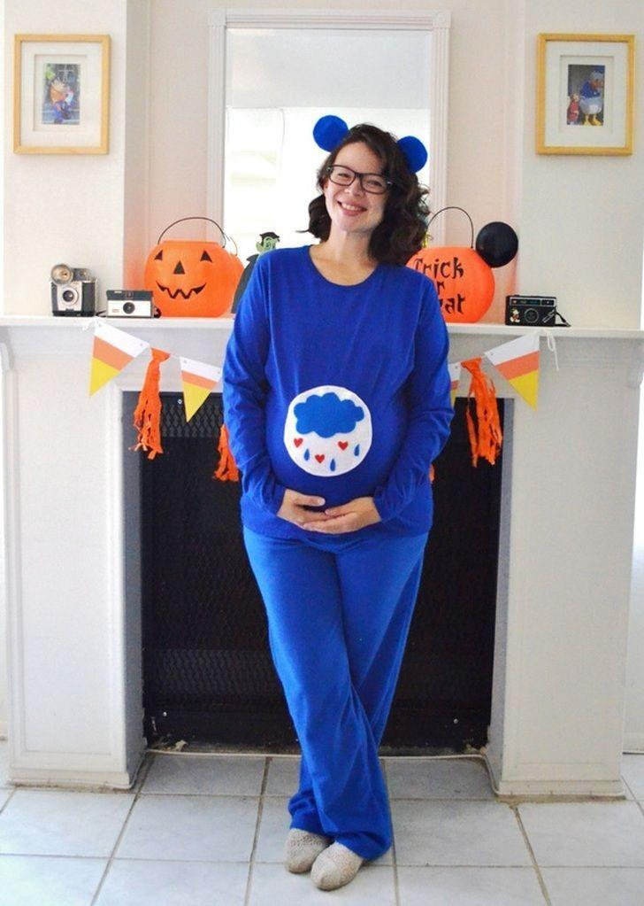 """<p>Earn major points in the comfort and creativity departments with this nostalgic nod to Care Bears. Accommodate your baby bump by making the DIY """"belly badge"""" at least 10 inches in diameter. </p><p><strong>Get the tutorial at <a href=""""http://www.cozyreverie.com/blog/diy-grumpy-care-bear-costume"""" rel=""""nofollow noopener"""" target=""""_blank"""" data-ylk=""""slk:Cozy Reverie"""" class=""""link rapid-noclick-resp"""">Cozy Reverie</a>. </strong></p><p><strong><a class=""""link rapid-noclick-resp"""" href=""""https://www.amazon.com/ccbetter-Upgraded-Removable-Anti-hot-Flexible/dp/B01178RVI2?tag=syn-yahoo-20&ascsubtag=%5Bartid%7C10050.g.4972%5Bsrc%7Cyahoo-us"""" rel=""""nofollow noopener"""" target=""""_blank"""" data-ylk=""""slk:SHOP HOT GLUE GUNS"""">SHOP HOT GLUE GUNS</a><br></strong></p>"""