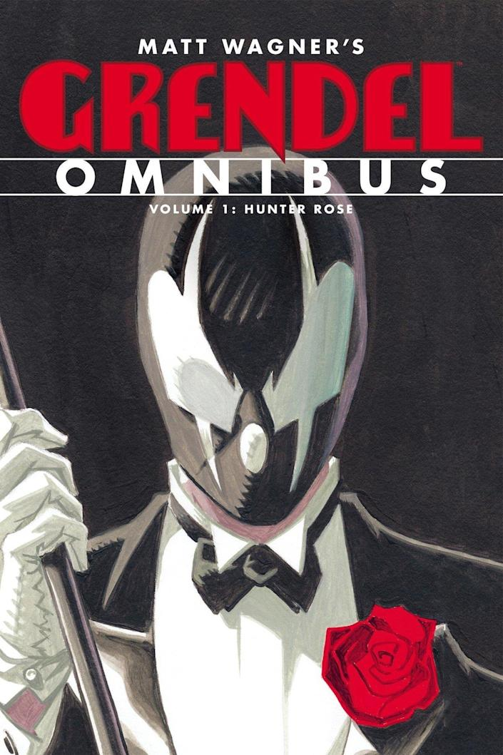 A masked vigilante in a black and white mask wears a tux and holds a cane from a cover for Grendel's omnibus