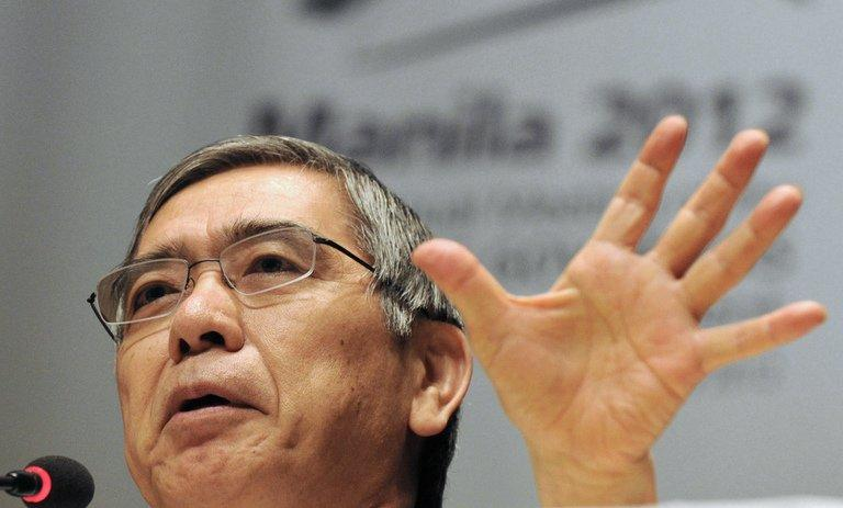 Haruhiko Kuroda, president of Asian Development Bank speaks during a press conference in Manila on May 2, 2012