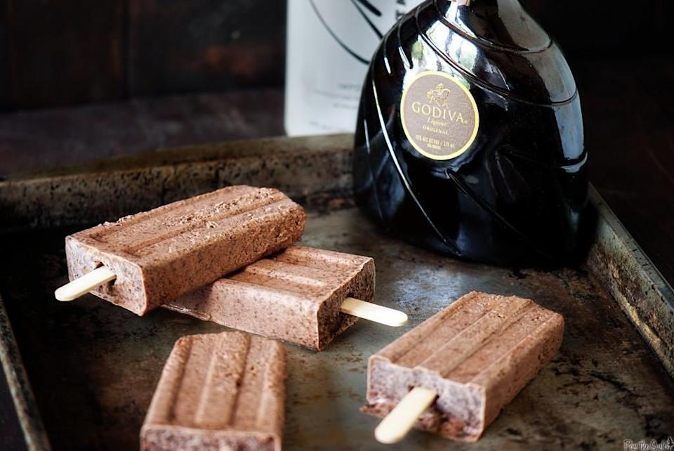 "<p>Not all alcoholic ice lollies need be fruity. These chocolatey ones boast a splash of Martini and are perfect as a post-dinner adult treat. Recipe <a href=""http://passthesushi.com/chocolate-martini-pudding-pops/"" rel=""nofollow noopener"" target=""_blank"" data-ylk=""slk:here."" class=""link rapid-noclick-resp"">here. </a><br></p>"