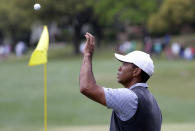 Tiger Woods catches his ball thrown from his caddie on the fifth hole during round-robin play at the Dell Technologies Match Play Championship golf tournament, Friday, March 29, 2019, in Austin, Texas. (AP Photo/Eric Gay)