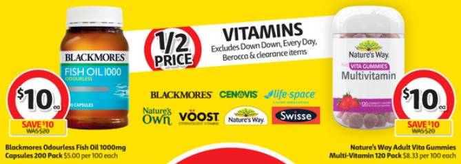 Vitamins at Coles selling for half-price this week.