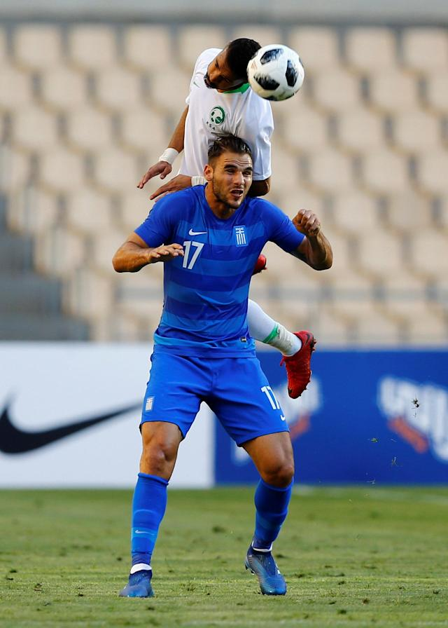 Soccer Football - International Friendly - Saudi Arabia v Greece - Estadio de La Cartuja, Seville, Spain - May 15, 2018 Saudi Arabia's Mohammed Al-Burayk in action with Greece's Panagiotis Tachtsidis REUTERS/Marcelo Del Pozo