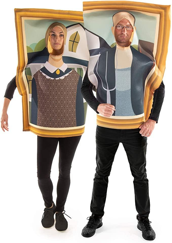 Man and woman pose while wearing 3D costumes recreating American Gothic painting.