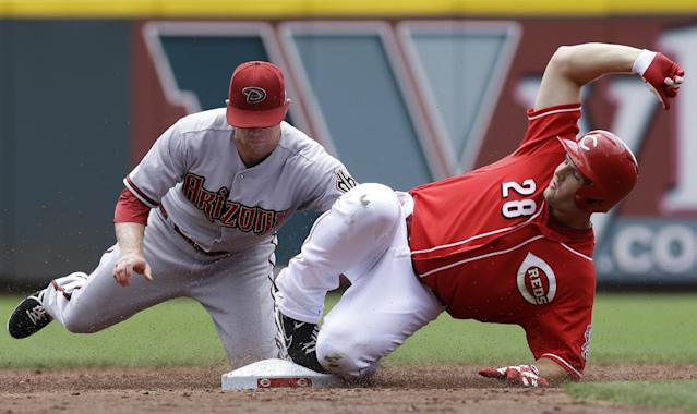 Cincinnati Reds' Chris Heisey (28) is tagged out by Arizona Diamondbacks second baseman Aaron Hill trying to stretch a single into a double in the third inning of a baseball game, Wednesday, July 30, 2014, in Cincinnati. (AP Photo/Al Behrman)