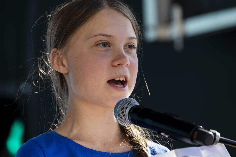 Climate activist Great Thunberg speaks a youth climate strike rally in Los Angeles, CA on November 1, 2019. (Photo by Ted Soqui/SIPA USA)