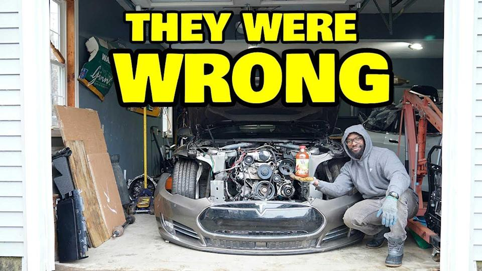 Rich Rebuilds Model S V8 Project Shows The LS3 Fits Under The Frunk