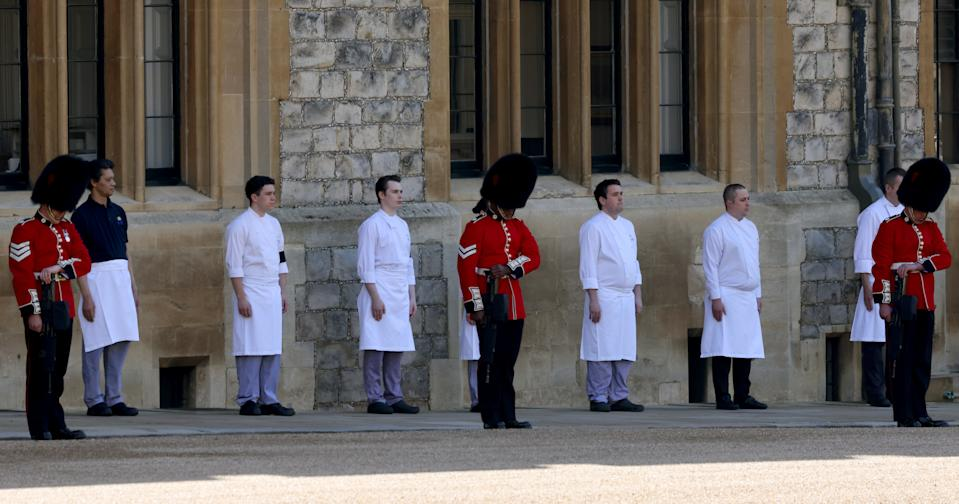 <p>Members of the military and castle staff also lined up to pay tribute. (PA)</p>