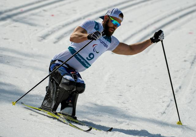 Aaron Pike USA competes in the Cross-Country Skiing Sitting Men's 1.1km Sprint at the Alpensia Biathlon Centre. The Paralympic Winter Games, PyeongChang, South Korea, Wednesday 14th March 2018. OIS/IOC/Thomas Lovelock/Handout via REUTERS