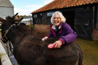 Pauline Sangers enjoys connecting with the animals during a visit to Pathways Care Farm in Lowestoft
