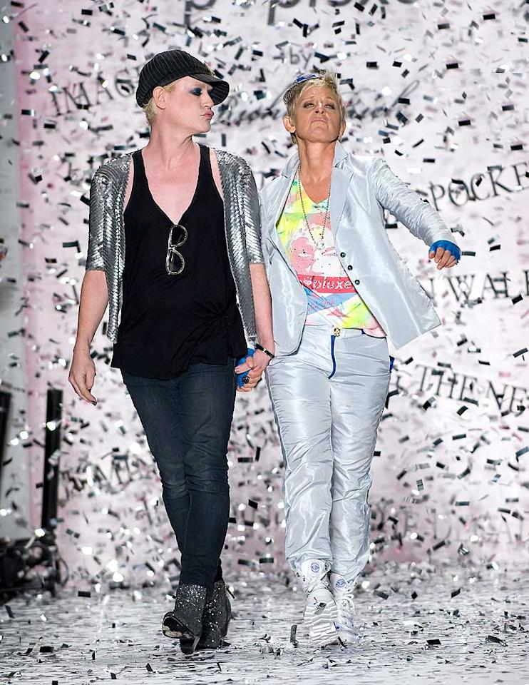 "Now that she's no longer an ""American Idol"" judge, is Ellen DeGeneres trying out a career on the catwalk? The comedienne rocked the runway with Richie Rich at the designer's Spring/Summer 2011 Fashion Week show in NYC Thursday. Anthony J. Causi/<a href=""http://www.splashnewsonline.com"" target=""new"">Splash News</a> - September 9, 2010"