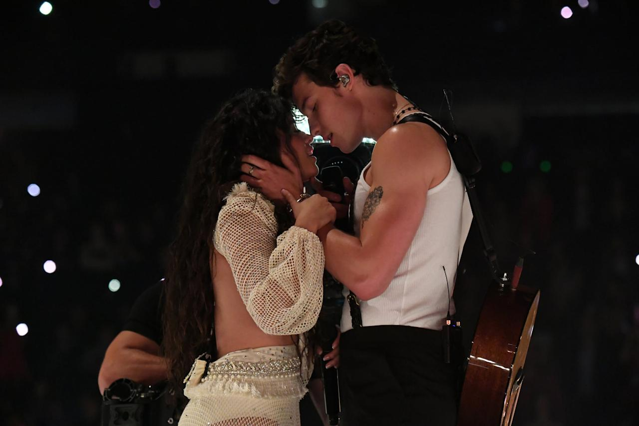 """<p>It's pretty clear that everyone was waiting for a kiss during <a href=""""https://www.popsugar.com/entertainment/Shawn-Mendes-Camila-Cabello-2019-MTV-VMAs-Performance-Video-46546261"""" target=""""_blank"""" class=""""ga-track"""" data-ga-category=""""Related"""" data-ga-label=""""http://www.popsugar.com/latina/Shawn-Mendes-Camila-Cabello-2019-MTV-VMAs-Performance-Video-46546261"""" data-ga-action=""""In-Line Links"""">the sultry performance</a>. Even <a href=""""https://www.popsugar.com/celebrity/Celebrity-Reactions-Shawn-Mendes-Camila-Cabello-MTV-VMAs-46549089"""" target=""""_blank"""" class=""""ga-track"""" data-ga-category=""""Related"""" data-ga-label=""""http://www.popsugar.com/celebrity/Celebrity-Reactions-Shawn-Mendes-Camila-Cabello-MTV-VMAs-46549089"""" data-ga-action=""""In-Line Links"""">celebrities were losing their minds</a> as Shawn and Camila got so close that their noses were touching. And, yet, no kiss on the big stage.</p>"""