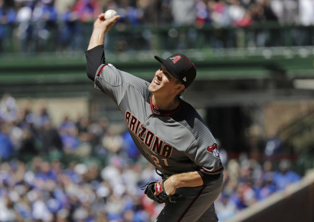 Arizona Diamondbacks starting pitcher Zack Greinke throws against the Chicago Cubs during the first inning of a baseball game Saturday, April 20, 2019, in Chicago. (AP Photo/Nam Y. Huh)
