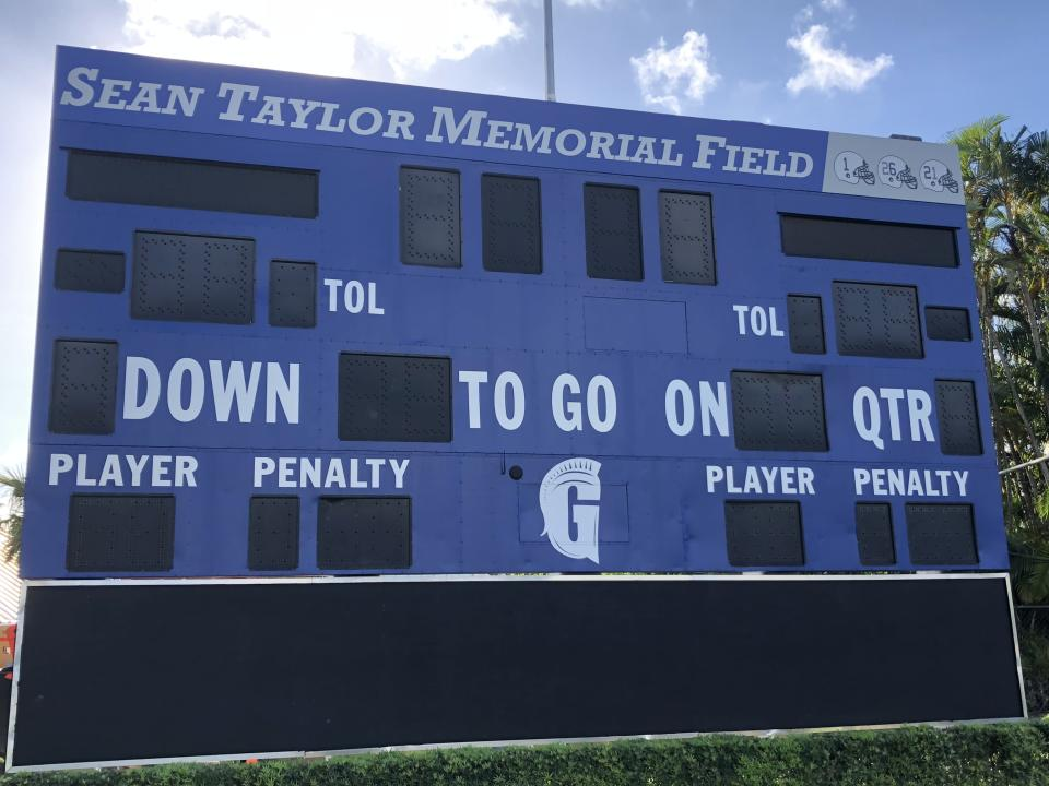 The football field at Gulliver Prep in the Miami area is dedicated to one of its alums, Sean Taylor. (Yahoo Sports)