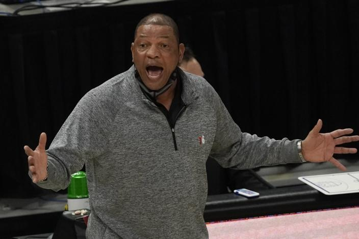 Philadelphia 76ers head coach Doc Rivers reacts during the first half of an NBA basketball game against the Milwaukee Bucks Saturday, April 24, 2021, in Milwaukee. (AP Photo/Morry Gash)