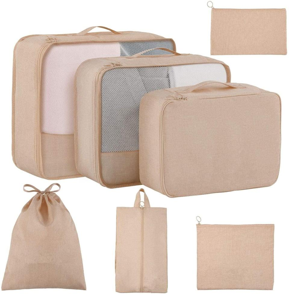 <p>Make packing a breeze with this <span>Luggage Packing Cubes and Organizers (7-Piece Set)</span> ($18). It comes in several different colors. </p>
