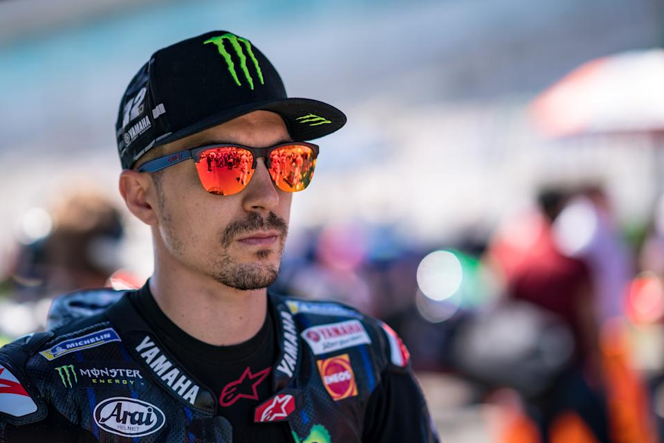 PORTIMAO, PORTUGAL - APRIL 18: Maverick Viñales of Spain and Monster Energy Yamaha MotoGP concentrates at the starting grid at Autodromo Internacional Do Algarve on April 18, 2021 in Portimao, Portugal. (Photo by Steve Wobser/Getty Images)