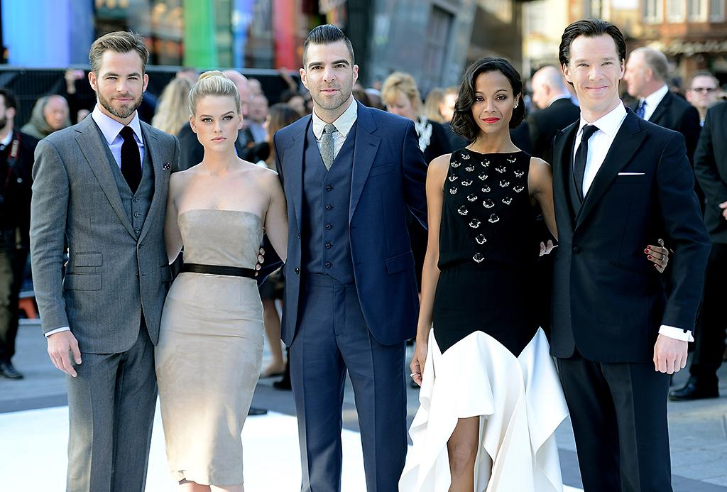 "Chris Pine, Alice Eve, Zachary Quinto, Zoe Saldana and Benedict Cumberbatch attend the ""Star Trek Into Darkness"" UK Premiere at the Empire Leicester Square on May 2, 2013 in London, England.  (Photo by Dave Hogan/Getty Images)"