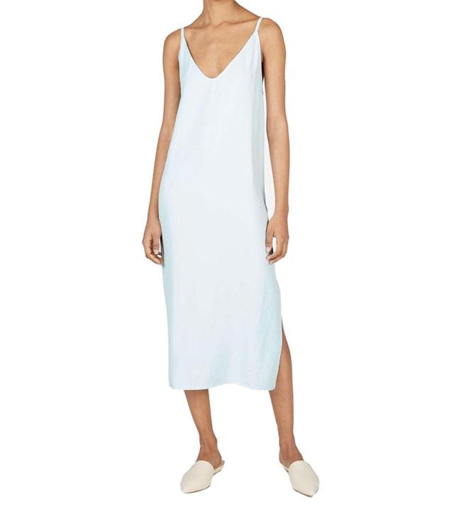 "<p>The Japanese GoWeave long slipdress, $88, <a href=""https://www.everlane.com/products/womens-japanese-goweave-slip-dress-mint?collection=dresses"" rel=""nofollow noopener"" target=""_blank"" data-ylk=""slk:everlane.com"" class=""link rapid-noclick-resp"">everlane.com </a> </p>"