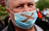 Protest against the government's restrictions following the coronavirus disease (COVID-19) outbreak, in Frankfurt