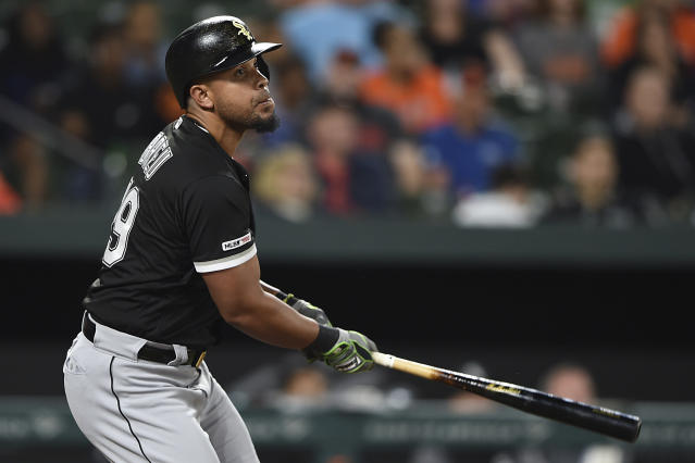 Chicago White Sox's Jose Abreu watches his two-run home run against the Baltimore Orioles in the seventh inning of a baseball game, Monday, April 22, 2019, in Baltimore. (AP Photo/Gail Burton)