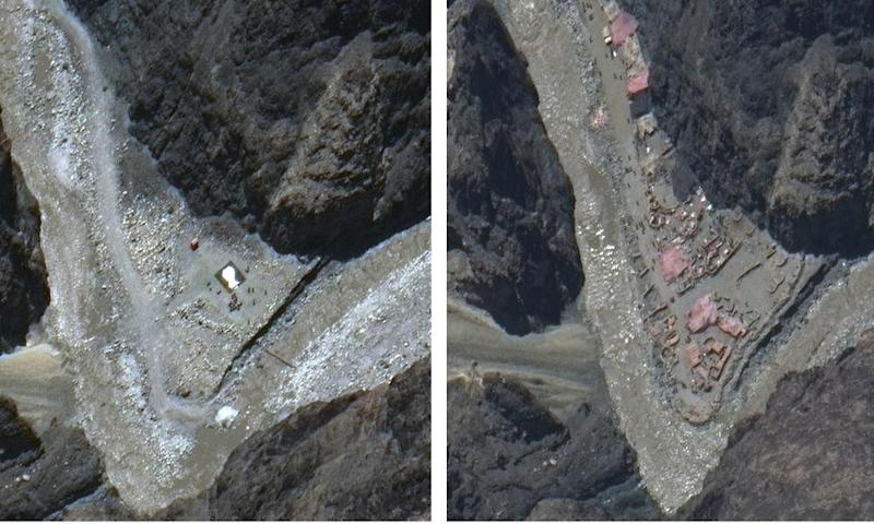 This combination of 22 May, left, and 23 June satellite images shows construction in the Galwan Valley.