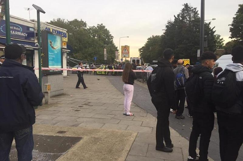 Fatal stabbing: A police cordon near Tanfield Avenue, Neasden