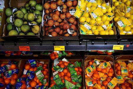 FILE PHOTO: A range of fresh fruit is seen on sale in an Aldi store in London, Britain February 15, 2018. REUTERS/Peter Summers/File Photo