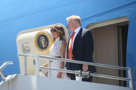 U.S. President Trump arrives at Hartsfield-Jackson Atlanta International Airport in Atlanta, Georgia