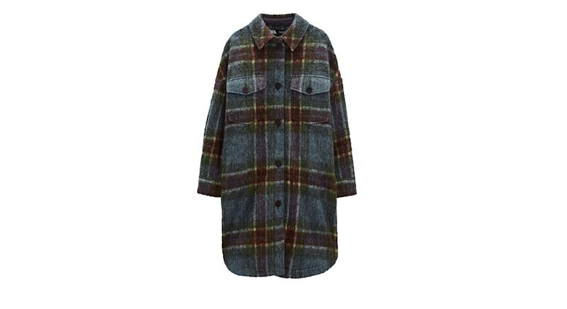 Wool Blend Check Overshirt