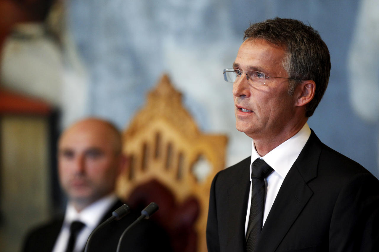 Norway's Prime Minister Hens Stoltenberg addresses the Norwegian Parliament during a commemoration ceremony for the 77 victims of the July 22 attacks in Oslo and Utoeya, in Oslo, Monday Aug. 1, 2011. Stoltenberg called on political leaders to show restraint in what they say as the country emerges from mourning the victims of the bombing and youth camp massacre by an anti-Muslim extremist.(AP Photo/Erlend Aas, Scanpix, pool) NORWAY OUT