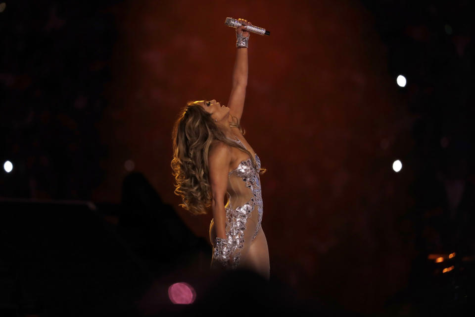 Jennifer Lopez performs during halftime of the NFL Super Bowl 54 football game between the Kansas City Chiefs and the San Francisco 49ers Sunday, Feb. 2, 2020, in Miami Gardens, Fla. (AP Photo/Seth Wenig)