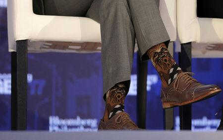 FILE PHOTO: Justin Trudeau, Prime Minister of Canada, wears Chewbacca socks while participating in a panel discussion at a Bloomberg Global Business Forum panel event in New York