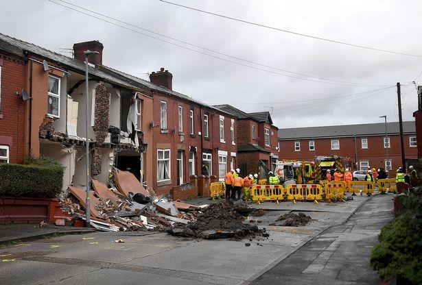 Collapsed homes in Walmer Street, Manchester (Greater Manchester Fire and Rescue Service)