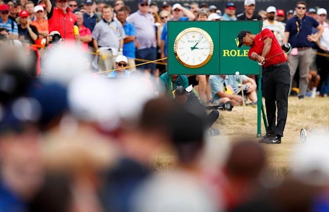"<a class=""link rapid-noclick-resp"" href=""/pga/players/147/"" data-ylk=""slk:Tiger Woods"">Tiger Woods</a> of the U.S. in action during the final round of the 143rd British Open. (REUTERS)"
