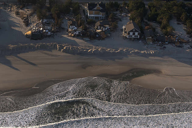 Houses are seen destroyed along the waterfront in this aerial view near Ortley Beach, N.J. (Adrees Latif/Reuters)