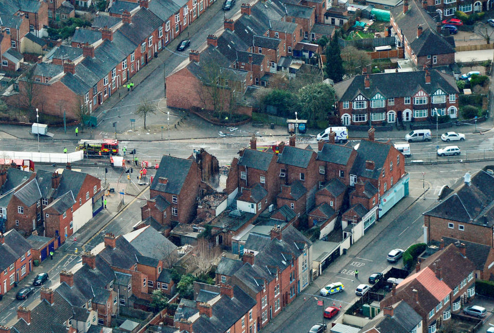 <em>An aerial view of the scene in Leicester on Monday morning as emergency services continued to investigate the blast (SWNS)</em>