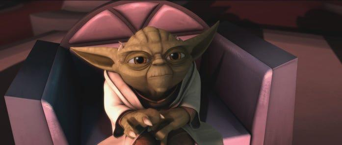 Diminutive but mighty Jedi master Yoda considers a difficult proposition in a scene from STAR WARS: THE CLONE WARS.