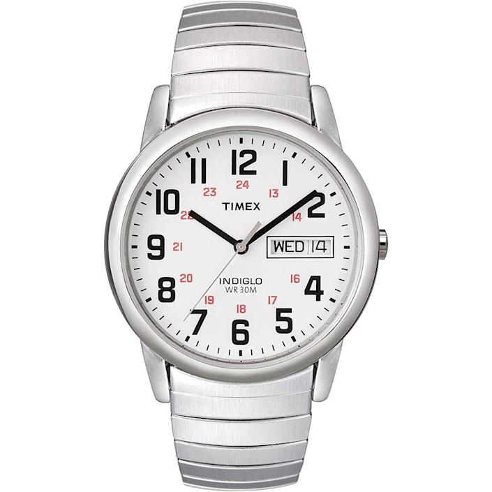 """<p><strong>Timex</strong></p><p>amazon.com</p><p><strong>$36.38</strong></p><p><a href=""""https://www.amazon.com/dp/B000B5459Q?tag=syn-yahoo-20&ascsubtag=%5Bartid%7C10054.g.35351418%5Bsrc%7Cyahoo-us"""" rel=""""nofollow noopener"""" target=""""_blank"""" data-ylk=""""slk:Shop Now"""" class=""""link rapid-noclick-resp"""">Shop Now</a></p><p>If you want to lean into the retro look and size (35mm, for the record), a steel expansion band is a good way to do it.</p>"""