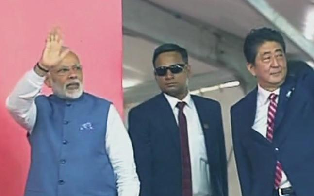 <p>PM Modi and his Japanese counterpart Shinzo Abe laid the foundation  stone of the project which is expected to be completed by 2022 at an  estimated cost of Rs 1.10 lakh crore.</p><p> </p>