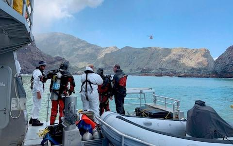 Police divers prepare to search the waters near White Island off the coast of Whakatane - Credit: NZ Police