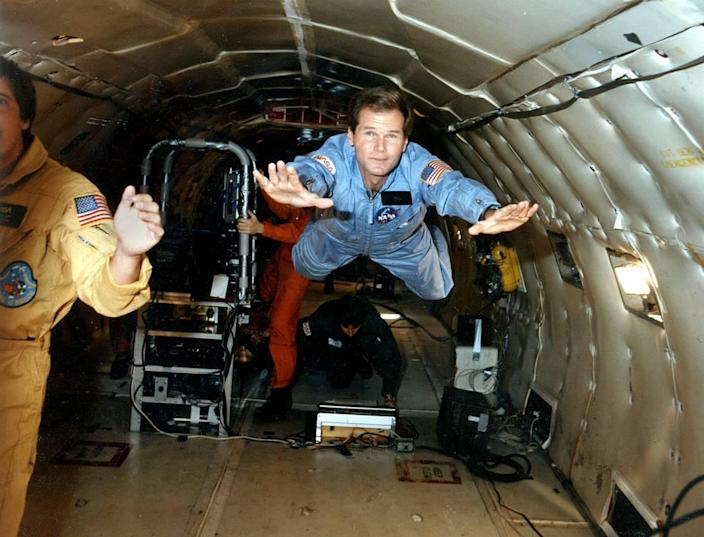 """U.S. Rep Bill Nelson gets his first ride in the NASA """"zero gravity"""" aircraft in this NASA handout photo, circa 1985. Nelson was at the Housten training center to train for an October 1985 flight with the crew of the space shuttle Columbia."""