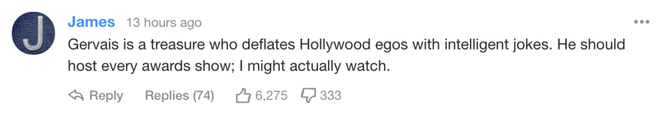 Yahoo readers react to Ricky Gervais's monologue