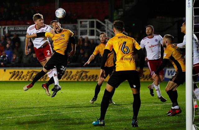 "Soccer Football - League Two - Newport County AFC v Accrington Stanley - Rodney Parade, Newport, Britain - April 24, 2018 Accrington Stanley's Jimmy Dunne heads at goal Action Images/Jason Cairnduff EDITORIAL USE ONLY. No use with unauthorized audio, video, data, fixture lists, club/league logos or ""live"" services. Online in-match use limited to 75 images, no video emulation. No use in betting, games or single club/league/player publications. Please contact your account representative for further details."